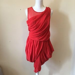 NWT ASOS Grecian Drapey Red Dress with Mesh 10